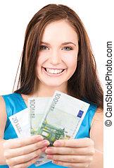 pengar, tonårig, söt, flicka