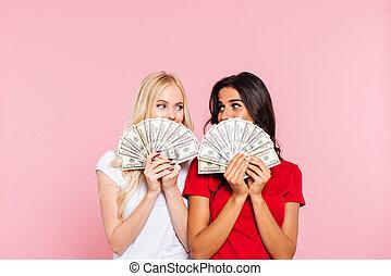 pengar, två, bak, le, nederlag, kvinnor