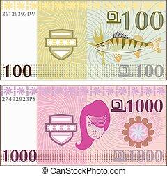 pengar, vektor, fejka