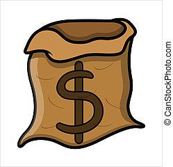 pengar, vektor, -, tom, väska