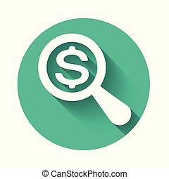 pengar., vit, dollar, button., länge, isolerat, titta glas, finna, vektor, grön, illustration, cirkel, förstorar, shadow., ikon
