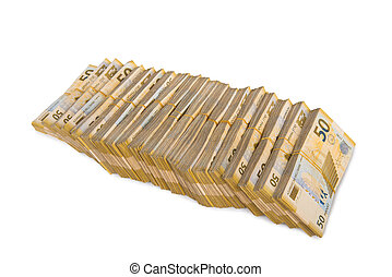 pengar, vit, isolerat, stack