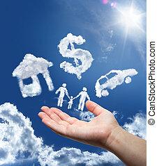 penge, drømme, automobilen, sky:, hjem