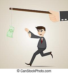 penge, forretningsmand, cartoon, luring
