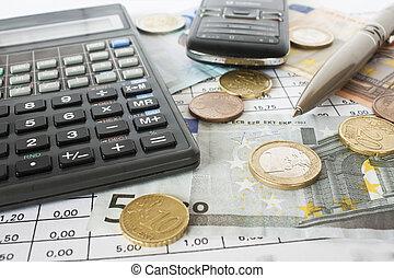 penge, fortegnelserne, og, regnemaskine