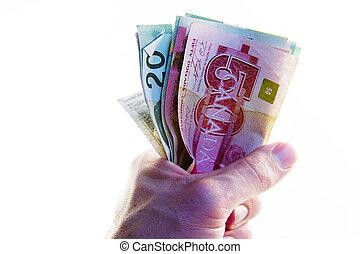 penge, fulde, næve, canadisk