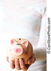 penge, gemme, piggy bank, din