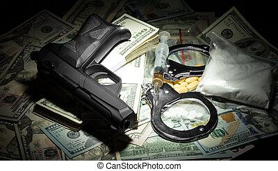 penge, geværet, og, narkotiske midler