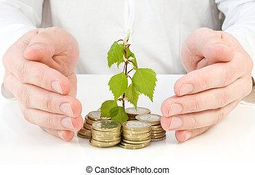 penge, gode, indgåelse, investering