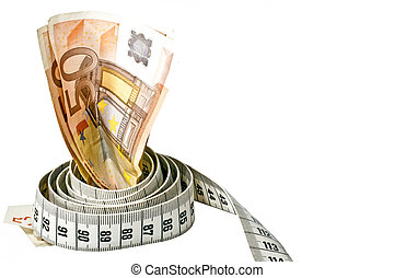 penge, hos, en, tape mål, indpakket, omkring, det, hen, en, hvid baggrund
