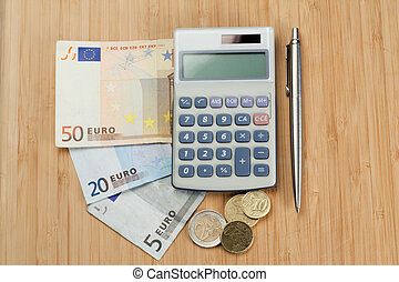 penge, hos, pen og, lomme, regnemaskine