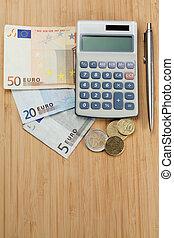 penge, hos, pen og, regnemaskine