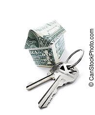 penge, hus nøgle