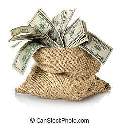 penge, ind, den, bag