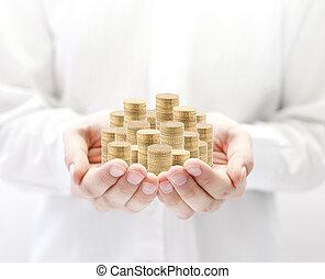 penge, ind, hænder