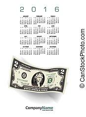 penge, kalender, 2016