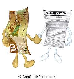 penge, lån, håndslag, ansøgning