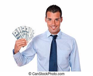 penge, oppe, indkassere, voksen, holde, guy, pæn