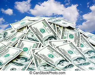 penge, stabel, stor