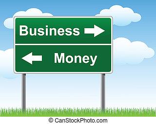 penge, tegn., firma, vej