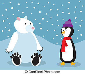 Penguin and a Polar Bear