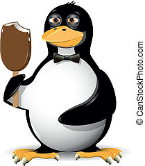 penguin and ice cream - illustration of a penguin fun and...