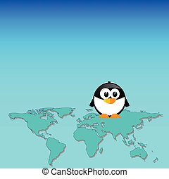 penguin and map of the world art vector illustration