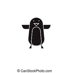 Penguin baby black vector concept icon. Penguin baby flat illustration, sign