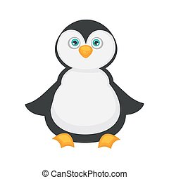 Penguin baby with big blue eyes and plump belly - Penguin...