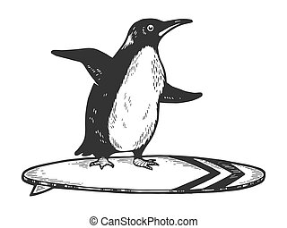 Penguin bird rides on surfboard sketch engraving vector illustration. Tee shirt apparel print design. Scratch board style imitation. Black and white hand drawn image.