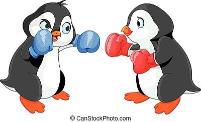 Penguin Boxing - Illustration of cute penguin boxing
