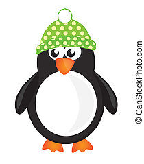 penguin cartoon - black,white and green penguin isolate over...