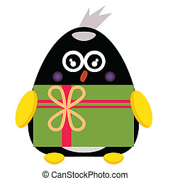 penguin cartoon character with gift box