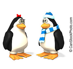 penguin cartoons - penguin set w/ clipping mask