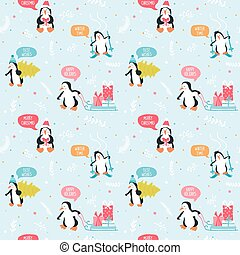 Penguin Christmas Background- Seamless Pattern - in vector