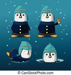 Penguin Christmas Cartoon Character Set Vector