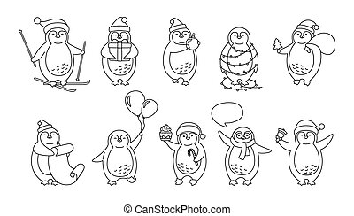 Penguin Christmas cartoon line New year set vector