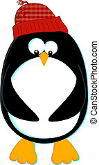 Penguin - Styled cartoon of a penguin in a knit cap