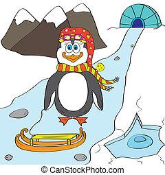 penguin color page
