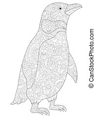 Penguin coloring vector for adults - Penguin coloring book...