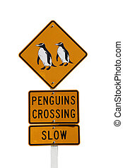Penguin Crossing sign isolated on white