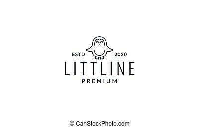 penguin cute cartoon happy line logo icon illustration vector