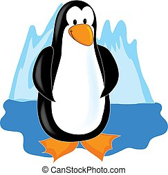 Cute little penguin standing in front of a iceberg