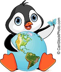 Penguin Earth Day - Penguin holds the Earth at Earth Day