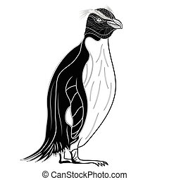 Penguin emperor bird head as symbol for mascot or emblem design, vector illustration for t-shirt. Sketch tattoo design.