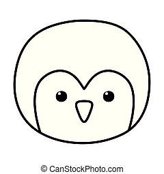 penguin face polar animal bird icon line style