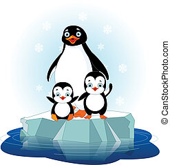 Penguin family - Mother penguin and her babes on the ice...