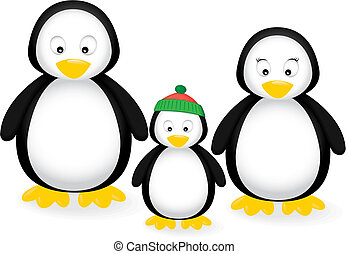 Penguin Family - Vector illustration of a penguin family