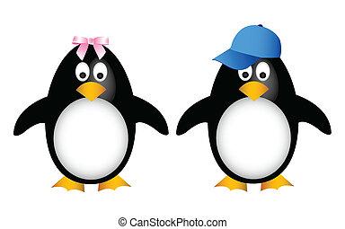 penguin, gezin, kind