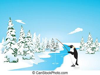 Penguin go fishing